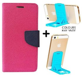 Wallet Flip Cover For VIVO Y53    - PINK With Mobile Mini Stand
