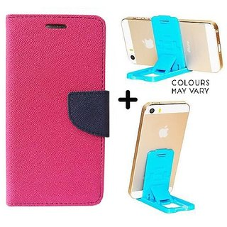 Wallet Flip Cover For Samsung Galaxy A7 (2016)  / Samsung A7 (2016)  - PINK With Mobile Mini Stand