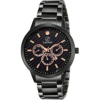 Lamkei Imported Chronograph Display Black Dial Black Steel Chain Mens Watch LMK-0076