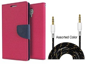 Wallet Flip Cover For Samsung Galaxy J6 / SAMSUNG J6   - PINK With Fabric Universal AUX Cable-1 Meter (Color May vary)