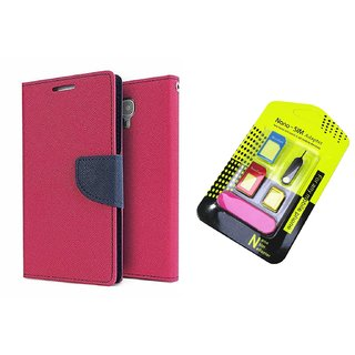 Wallet Flip Cover For Micromax Canvas Colours A120  / Micromax A120  - PINK With Nano Sim Adapter