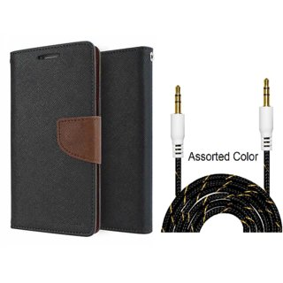 Wallet Flip Cover For Micromax Canvas Colours A120  / Micromax A120  - BROWN With Fabric Universal AUX Cable-1 Meter (Color May vary)