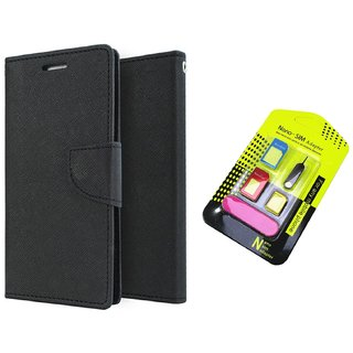 Wallet Flip Cover For Micromax Canvas HD A116  / Micromax A116  - BLACK With Nano Sim Adapter
