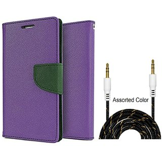 Wallet Flip Cover For Micromax Canvas Juice 3 Q392  / Micromax Q392  - PURPLE With Fabric Universal AUX Cable-1 Meter (Color May vary)