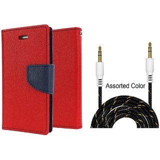 Wallet Flip Cover For Micromax Canvas Knight Cameo A290  / Micromax A290  - RED With Fabric Universal AUX Cable-1 Meter (Color May vary)