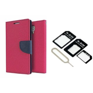 Wallet Flip Cover For Micromax Canvas Knight Cameo A290  / Micromax A290  - PINK With Nossy Nano Sim Adapter