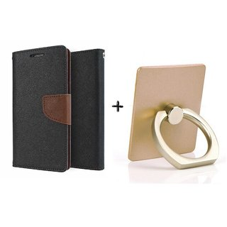Wallet Flip Cover For Micromax Canvas Pep Q371  / Micromax Q371  - BROWN WITH MOBILE RING STAND