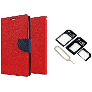 Wallet Flip Cover For Micromax Bolt A069  / Micromax A069  - RED With Nossy Nano Sim Adapter