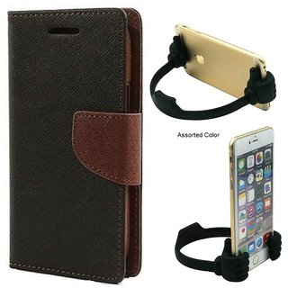 Wallet Flip Cover For Samsung Galaxy Grand Quattro GT-I8552  / Samsung i8552  - BROWN With Universal Portable Mobile OK Stand