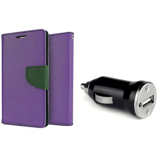 Wallet Flip Cover For Micromax Bolt D320  / Micromax D320  - PURPLE  With CAR ADAPTER