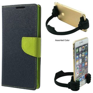 Wallet Flip Cover For Micromax Bolt S302   / Micromax S302   - BLUE With Universal Portable Mobile OK Stand