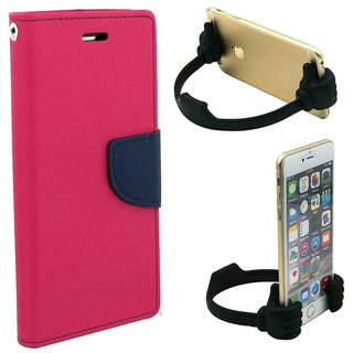 Wallet Flip Cover For Samsung Galaxy Grand Quattro GT-I8552  / Samsung i8552  - PINK With Universal Portable Mobile OK Stand