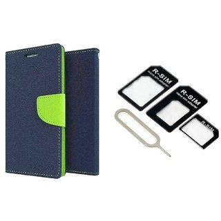 Wallet Flip Cover For Samsung Galaxy J2  / Samsung J2  - BLUE With Nossy Nano Sim Adapter