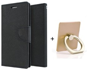 Wallet Flip Cover For  Redmi Note 5 Pro / REDMI NOTE 5 PRO   - BLACK WITH MOBILE RING STAND