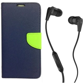 Wallet Flip Cover For Reliance Lyf Wind 1  / Reliance  Wind 1  - BLUE With 3.5mm SkuCandy Earphone(Color May vary)