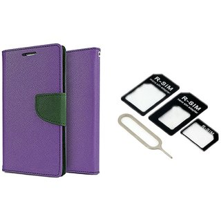 Wallet Flip Cover For Micromax Canvas A1  / Micromax A1  - PURPLE With Nossy Nano Sim Adapter