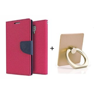 Wallet Flip Cover For Micromax Yu Yureka / Yureka PLUS AQ5510 - PINK WITH MOBILE RING STAND