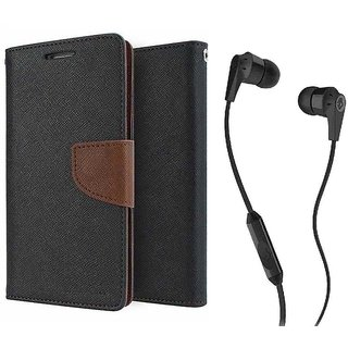 Wallet Flip Cover For Reliance Lyf Wind 1  / Reliance  Wind 1  - BROWN With 3.5mm SkuCandy Earphone(Color May vary)