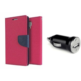 Wallet Flip Cover For Micromax Canvas Spark 2 Q334  / Micromax Q334  - PINK  With CAR ADAPTER