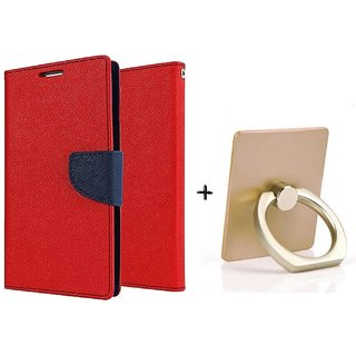Wallet Flip Cover For HTC One E8  / HTC  E8  - RED WITH MOBILE RING STAND