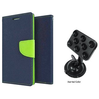 Wallet Flip Cover For IPhone 7  / i phone 7  - BLUE With Universal Car Mount Holder