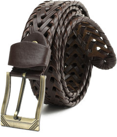 Brown Leatherite Pin-Hole Buckle Belt For Mens