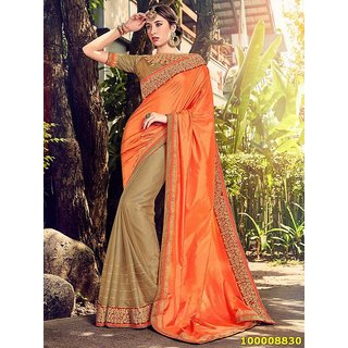 Orange And Gold Colour Sarees