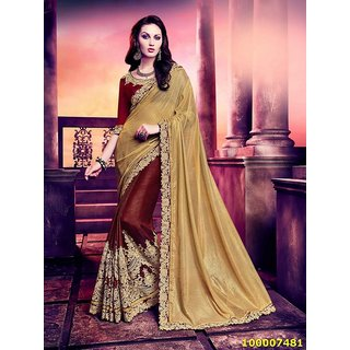 Gold & Maroon Colour Sarees