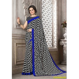 Black, White & Blue Colour Sarees