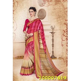 Pink & Cream Colour Sarees