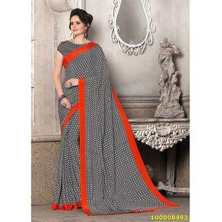 Black, White & Orange Colour Sarees