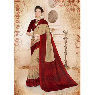 Cream & Maroon Colour Sarees