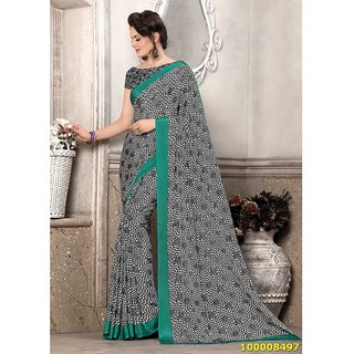 Black, White & Teal Blue Colour Sarees