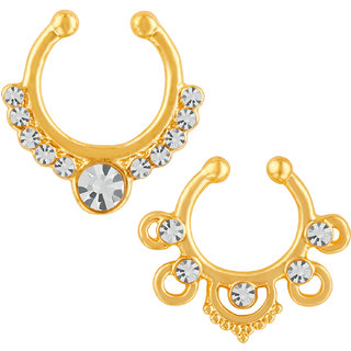 Mahi Gold Plated Designer Jewellery Combo of Nose Ring for girls and women CO1104817G