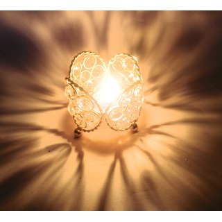 NxTdooR INDIA- Bigger is beautiful- Home Decorative Show piece Brass T-Lamp Crystal Medium  Diya Pack of 2