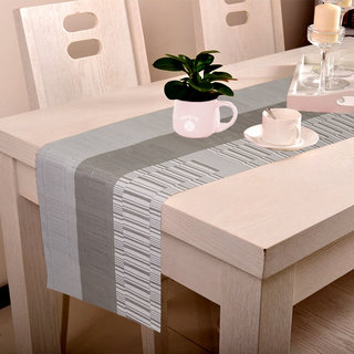 Lushomes Grey Bamboo Waterproof and heat resistant PVC Runner  ( 30 x 180 cms, Single Pc)