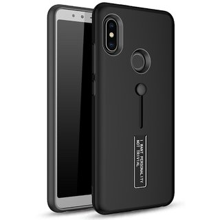 TPU + PC Dual Layer With Stand  Finger Holder Back Case Cover for Redmi Note 5 Pro (Matte Black)