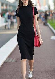 Rimsha women wear black polo neck mini dress