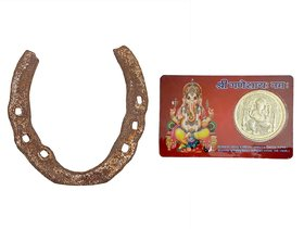 Gifts  Decor Original Black Horse Shoe GhiodeKi Naal for Good Luck, Restrict Bad/Evil Energy with ATM Ganesha Card