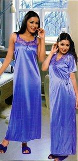 Sukuma Multi Colors Satin Plain Nighty With Robe