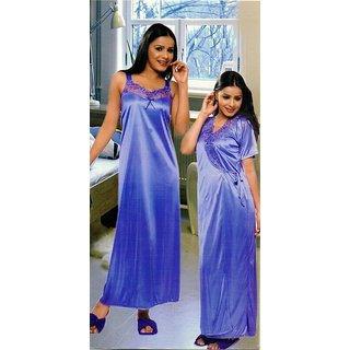 Sukuma Multi Colors Satin Plain Nighty With Robe