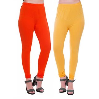 HauteAndBold  Orange  Yellow Super Cotton Churidar LEGGING and and multicolours Colours Leggings for Womens and Girls- Sizes - M, L, XL, 2XL, 3XL,