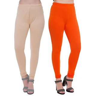 HauteAndBold Orange  Beige  Super Cotton Churidar LEGGING and and multicolours Colours Leggings for Womens and Girls- Sizes - M, L, XL, 2XL, 3XL,