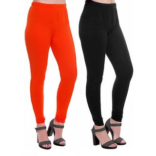 HauteAndBold Orange  Black  Super Cotton Churidar LEGGING and and multicolours Colours Leggings for Womens and Girls- Sizes - M, L, XL, 2XL, 3XL,