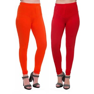 HauteAndBold Orange  Red Super Cotton Churidar LEGGING and and multicolours Colours Leggings for Womens and Girls- Sizes - M, L, XL, 2XL, 3XL,