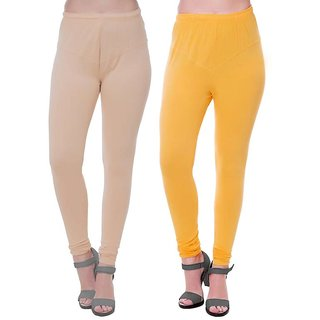HauteAndBold yellow  Beige  Super Cotton Churidar LEGGING and and multicolours Colours Leggings for Womens and Girls- Sizes - M, L, XL, 2XL, 3XL,