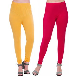 HauteAndBold  Yellow  Pink Super Cotton Churidar LEGGING and and multicolours Colours Leggings for Womens and Girls- Sizes - M, L, XL, 2XL, 3XL,