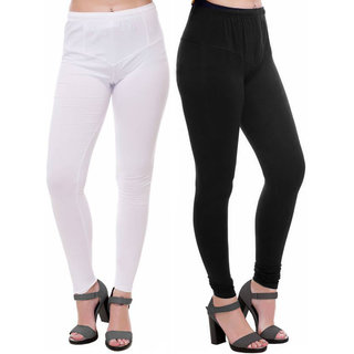 HauteAndBold  Black  White Super Cotton Churidar LEGGING and and multicolours Colours Leggings for Womens and Girls- Sizes - M, L, XL, 2XL, 3XL,