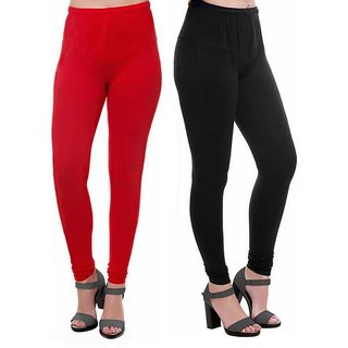 HauteAndBold Black  red  Super Cotton Churidar LEGGING and and multicolours Colours Leggings for Womens and Girls- Sizes - M, L, XL, 2XL, 3XL,