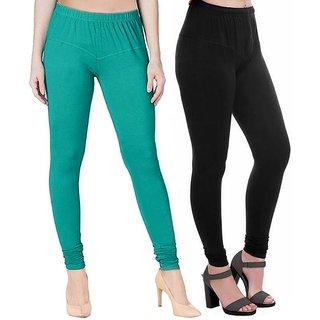 HauteAndBold  Black  Dark Green Super Cotton Churidar LEGGING and and multicolours Colours Leggings for Womens and Girls- Sizes - M, L, XL, 2XL, 3XL,
